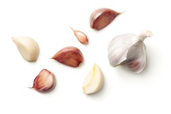 Garlic isolated on white background. Top view
