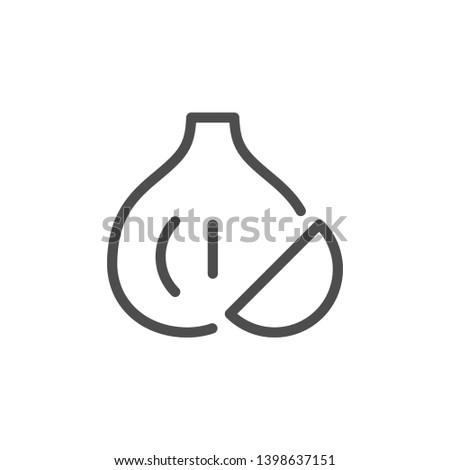 Garlic line icon isolated on white