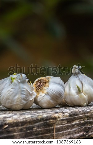 garlic lined up on a banister #1087369163