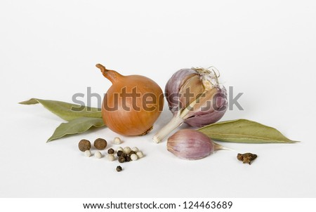 garlic, onion and spices on a white background
