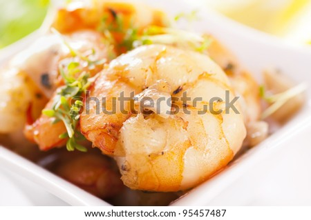 Garlic prawn as close up