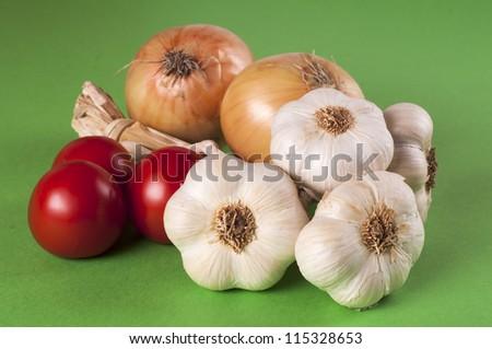 Garlic, tomatoes and onion