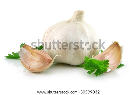 Garlic Vegetable with Green Parsley Leaves Isolated on White Background