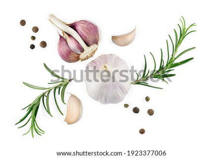 garlic with rosemary and peppercorn isolated on white background. Top view. Flat lay. High quality photo Stock photo ©