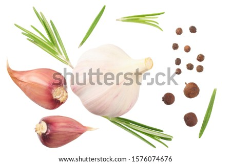 garlic with rosemary, peppercorns and allspice isolated on white background. top view #1576074676
