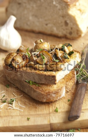 Garlicky mushrooms on toast