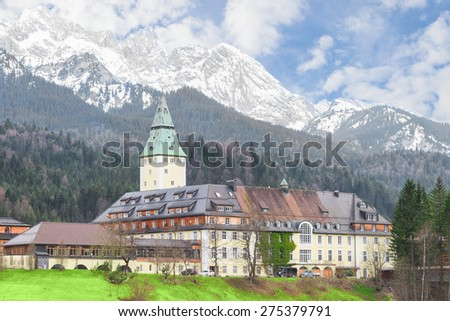 Garmisch-Partenkirchen, Germany - April 26, 2015: Bavarian hotel Schloss Elmau castle is conference venue of the 41st G8 summit at June with the presidents and premiers of the most important nations.