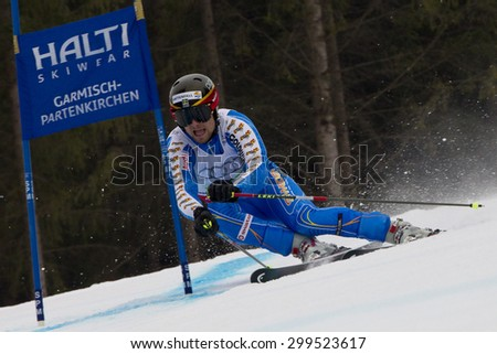 GARMISCH PARTENKIRCHEN, GERMANY. Feb 16 2011: Hans Olsson (SWE) competing in the team event a parallel slalom race  at the 2011 Alpine skiing World Championships