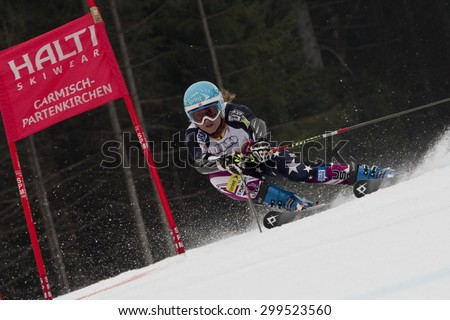 GARMISCH PARTENKIRCHEN, GERMANY. Feb 16 2011: Julia Mancuso (USA) competing in the team event a parallel slalom race  at the 2011 Alpine skiing World Championships