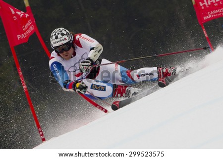 GARMISCH PARTENKIRCHEN, GERMANY. Feb 16 2011: Marc Berthod (SUI) competing in the team event a parallel slalom race  at the 2011 Alpine skiing World Championships