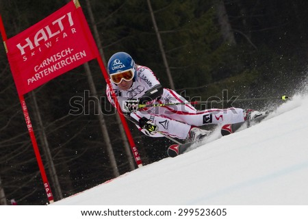 GARMISCH PARTENKIRCHEN, GERMANY. Feb 16 2011: Marlies Schild (AUT) competing in the team event a parallel slalom race  at the 2011 Alpine skiing World Championships