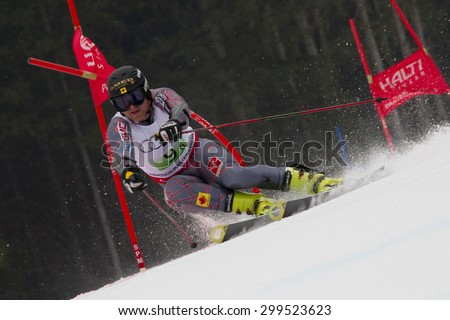 GARMISCH PARTENKIRCHEN, GERMANY. Feb 16 2011: Paul Stutz (CAN) competing in the team event a parallel slalom race  at the 2011 Alpine skiing World Championships