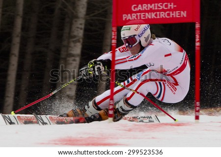 GARMISCH PARTENKIRCHEN, GERMANY. Feb 16 2011: Taina Barioz (FRA) competing in the team event a parallel slalom race  at the 2011 Alpine skiing World Championships