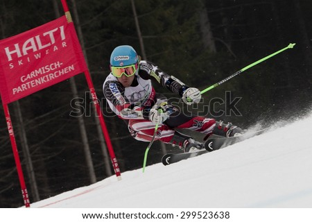 GARMISCH PARTENKIRCHEN, GERMANY. Feb 16 2011: Ted Ligety (USA) competing in the team event a parallel slalom race  at the 2011 Alpine skiing World Championships