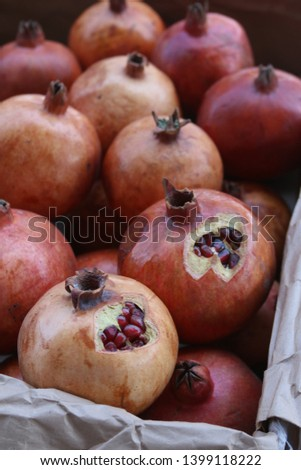 Garnet, Garnets, Ripe pomegranate, Ripe pomegranates, Background with grenades #1399118222