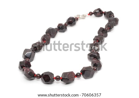 garnet necklace isolated on a white background