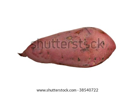 Garnet red yam isolated on white background.