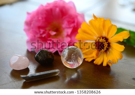 Garnet, Smokey Quartz, Rose Quartz, and Clear Quartz Sphere. Crystal variety pack, witchcraft spell crystal kit Premium Quality crystals. Variety of shapes and colors. Fresh colorful photo of stones #1358208626