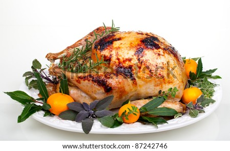 Garnished citrus glazed roasted turkey on tray over white background
