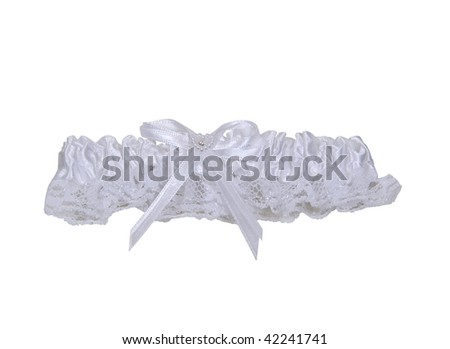 Garter belt made of lace and ribbon worn as a decorative accessory on the leg or thigh - path included