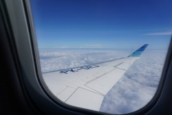 Garuda airlines window view.