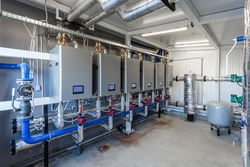 gas boiler room, boilers and equipment