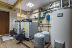 Gas boilers in gas boiler room.