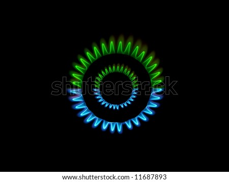 Gas burner green and blue flames view from the top