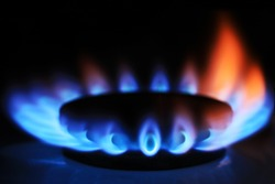 Gas burner on stove. Selective focus.