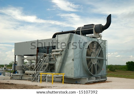 Gas compressor used to process gas for pipeline distribution.