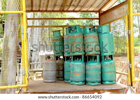 gas cylinder stored on the stack