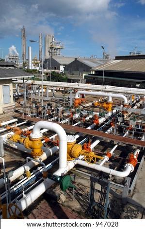 Gas Distribution center in Bontang, Kalimantan, Indonesia, Asia - stock photo