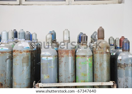 gas energy container representing storage and danger concept - stock photo