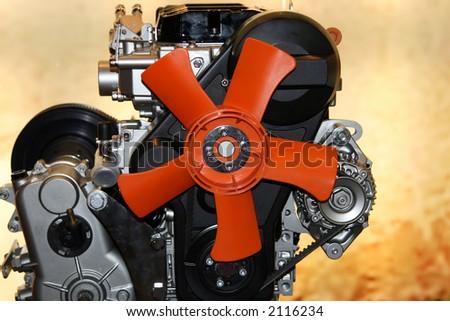 Gas engine fan red cooling fan - stock photo