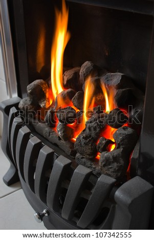 Gas fireplace - stock photo