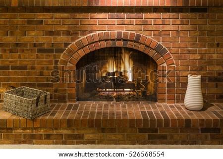 Gas Fireplace with Brick Surround  #526568554