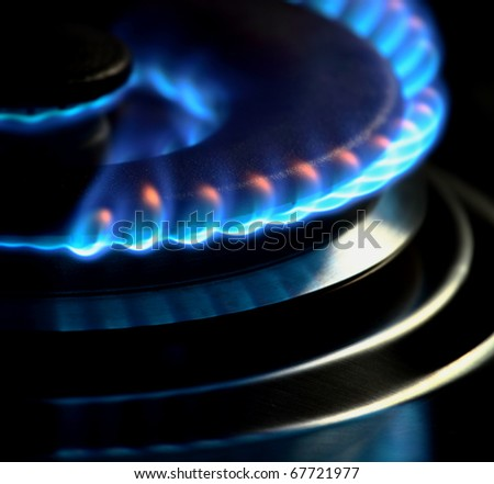 gas flame in the kitchen