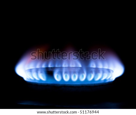 gas flame isolated on black
