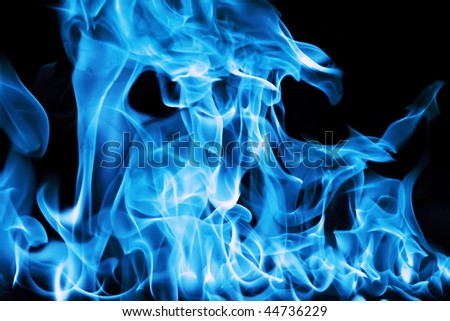 gas flame isolated on black backgound - stock photo