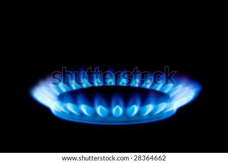 Gas flame isolated on black background