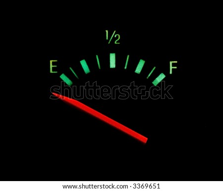 Gas gauge bright colors on empty on a black background