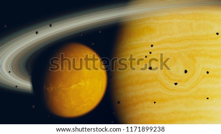 Stock Photo gas giant planet and moon, 3d render