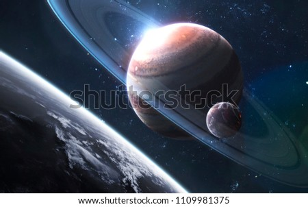 Gas giant with satellite, awesome science fiction wallpaper, cosmic landscape. Elements of this image furnished by NASA