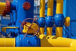 Gas industry, gas transport system. Communications, stop valves and appliances for gas pumping station.