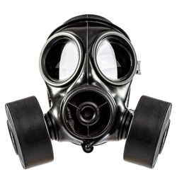 gas mask double filter on white background