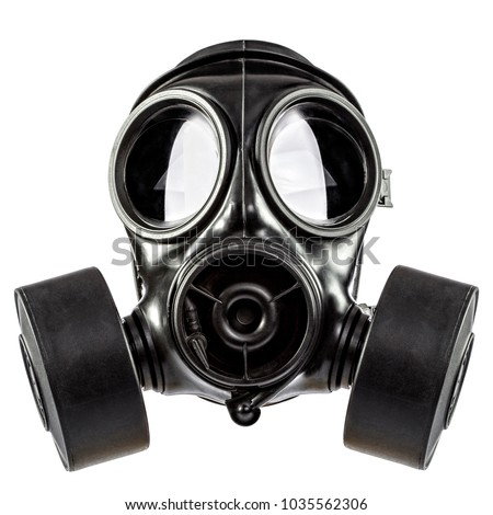 gas mask double filter on white background #1035562306