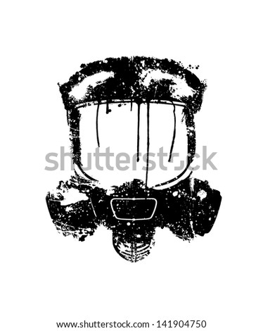 Gas mask painted in black on a white background