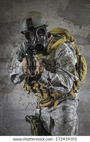 Gas Mask Soldier aiming rifle