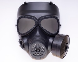 gas mask with filter isolated on white background