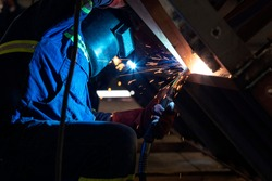 Gas metal arc welding. It is a welding process which joins metals by heating the metals to their melting point with an electric arc and arc is struck between a continuous, consumable electrode wire.